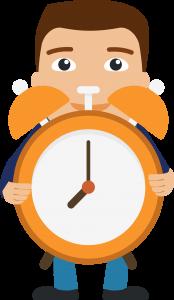 Brocante : homme avec une horloge